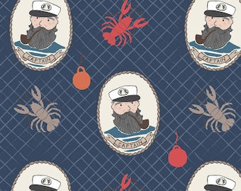 Captain on navy fabric from the Harbourside range by Lewis & Irene