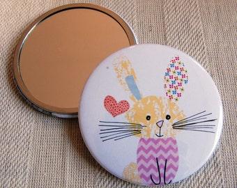 Pocket Mirror- Cute Rabbit in his Favourite Chevron Jumper. Hand Mirror. Round mirror. Christmas Stocking filler. Birthday Gift.
