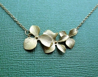 Golden Orchid Trio Necklace - gift, mother, birthday, bridal, anniversary, wife, mother, sister, daughter, bridesmaid, friend, graduation