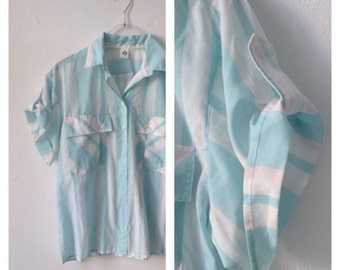 Pastel Candy 80s Short Sleeve Blouse S | M