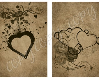 Instant Download  HEARTS - 2.5 x 3.5 - ACEO -  Printable Digital Collage Sheet - Digital Download