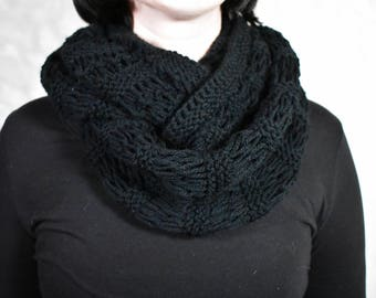 Black infinity scarf Knit cowl neck scarf Knit neckwarmer Knitted scarf Black knit scarf Winter scarf black Knit infinity scarf