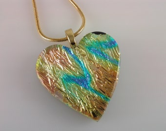 ON SALE - Dichroic Glass Heart Pendant, Fused Glass Jewelry, Copper Orange Blue Dichroic Necklace
