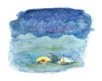 """Blue starry sky, sitting at a fire  - watercolor illustration print - 8x11"""""""