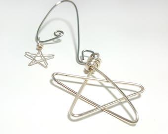 Little Silver Double Star Ornament - Silver Wire tree ornament