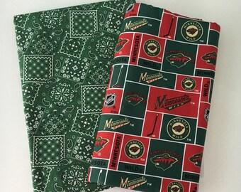 Wild hockey fabric, reversible custom pet bandanas, sizes XS-XL, dog scarf, pet scarf, dog bandana, pet clothing, pet attire, pet wear