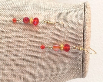 Red Agate and Swarovski Crystal Earrings