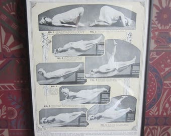 Vintage 1919 Print Physical FItness Exercise Chart for Women Olympian Course