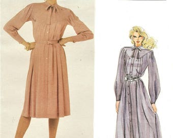 1980s Jean Muir Womens Button Front Dress Day or Evening Length Vogue Sewing Pattern 2788 Size 12 Bust 34 FF Vintage Vogue American Designer