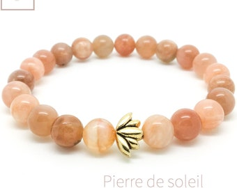 Women's sunstone bracelet, Lotus bracelet, Yoga mala beaded bracelet, Natural gemstone bracelet, Gift for woman, Wildcoastjewels