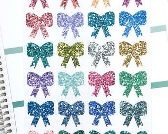 Bows Decorative Planner Stickers   Cute Little Bows Bright Glitter