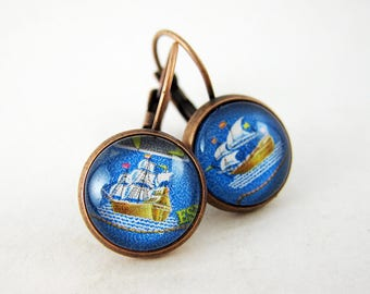 Tiny Adventures Ship Earrings, Vintage 1965 Philippines Postage Stamp, Nickel Free Copper, Nautical Jewelry, Sailing Ships, Unique Grad Gift