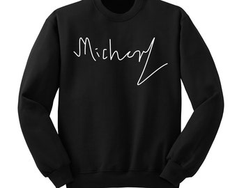 Michael Clifford Signature Shirt, 5SOS Shirt, 5 Seconds of Summer Autograph, Crew Neck Sweater, Band Shirt, Band Merch, Tumblr, Instagram