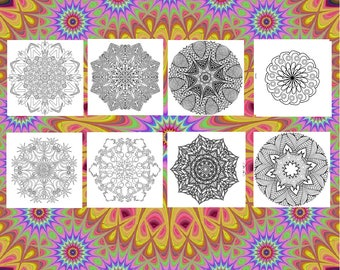 30 Mandala Adult Coloring Pages 8 X10 Printable Instant Download PDF