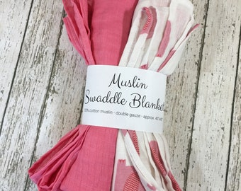 Muslin Blankets - Set of 2 - Baby Blankets - Swaddle Wrap - Swaddle Blankets - Cotton Blanket - Double Gauze - Pink Elephants Grey Elephants