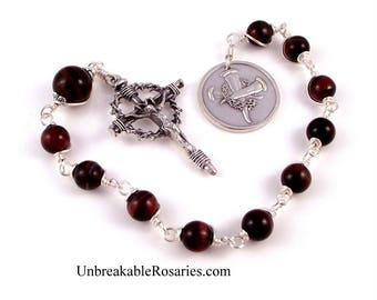 For God So Loved The World Red Tiger Eye Wire Wrapped Rosary Chaplet With Nail Crucifix by Unbreakable Rosaries