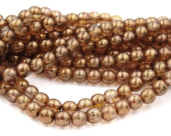 8mm Czech Glass Round Gold Smokey Topaz Luster Beads  -25