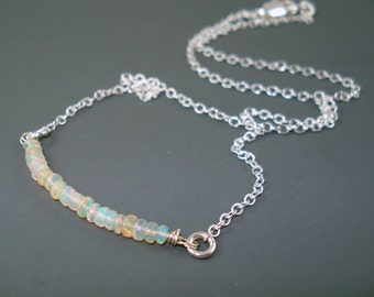 Opal Necklace, Ethiopian Fire Opal Rondelles, Small Opal Beads and Silver Plate Chain