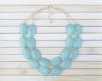 Mint Green Chunky Necklace, Mint Beaded Necklace, Double Strand Layered Necklace, Mint Green Jewelry, Mint Wedding, Seafoam Green Necklace