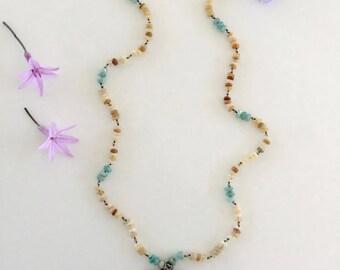 SALE! Blue Fish Opal Aquamarine Bohemian Mermaid Earthy Pisces Necklace