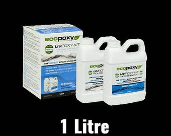Resin Art, Clear Epoxy Resin, EcoPoxy® UVPoxy 1 Litre, Safest, Tabletop Epoxy, Eco-friendly, Resin Painting, Resin Supplies, Resin Artists