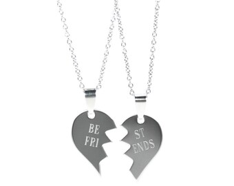 BFF Necklace - Split Heart Necklace - Best Friend Necklace - Partners in Crime Necklace - Friendship Necklace - Gift For Best Friend