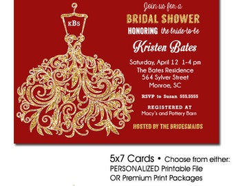 Red and Gold Bridal Shower Invitation, Bridal Shower Invitation Red and Gold, Christmas Bridal Shower Invitation Red Gold Glitter, Holiday