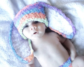 0 to 3m Bunny Hat Newborn prop, Rainbow Newborn Hat, Newborn Bunny Ears Baby Hat, Newborn Boy, Newborn Girl, Baby Shower Gift