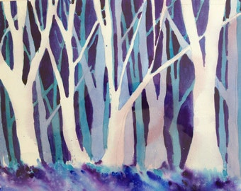Into the Woods an original watercolor painting