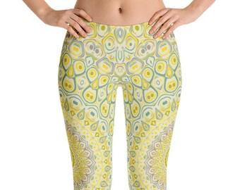 Yellow Leggings Yoga Pants, Printed Yoga Tights, Yellowish Green Mandala Pattern