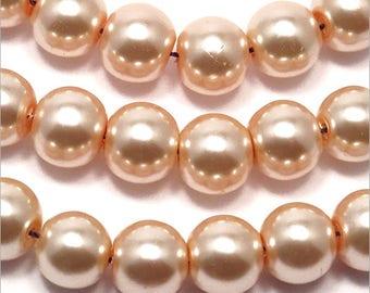 20 10mm salmon pink Czech glass pearls