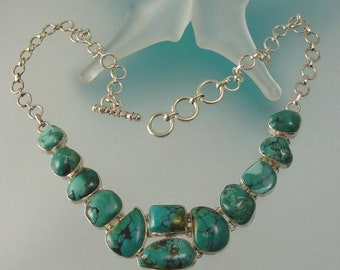 Turquoise Sterling Silver Necklace - One-of-a-kind Green Turquoise Jewelry - Artisan Made Necklace