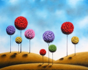 Art Print of Whimsical Landscape Painting, Abstract Art, Lollipop Tree Print, Giclee Print of Oil Painting, Modern Contemporary Folk Art