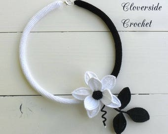 crochet necklace, floral necklace, black and white necklace,  statement necklace, boho, bohemian, statement jewelry, Christmas gift