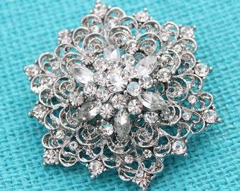 Rhinestone Brooch, Bridal Brooch, Bouquet Brooches, Vintage Wedding Brooch, Dress Sash Brooch, Silver Rhinestone Crystal Brooches