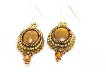 Earrings-Tiger eye cabochons-bead embroidered-iris green seed beads-crystal dangles-dangle earrings-stone-gemstone-gold earrings-artisan