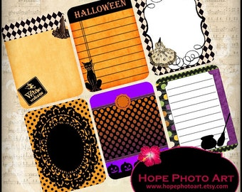 Bewitching Halloween Journal Cards 3x4 Digital Collage Sheet tags Project Life Smashbook witches broomstick black cat pumpkins Uprint 300jpg