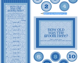 """Instant download - Co-ed Bridal Shower / Bachelorette Party Game - How old is the groom here - BLUE - 10X8"""" Frame Opening"""