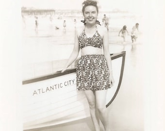 "Vintage Snapshot ""Atlantic City"" Rowboat Pretty Girl Swimsuit Beach Ocean Found Vernacular Photo"