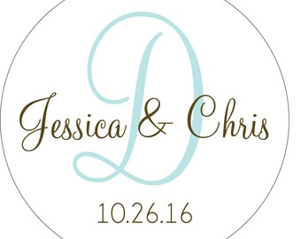 16 - 4 inch Custom Glossy Waterproof Wedding Stickers Labels - many designs to choose from - change designs to any color or wording WR-113