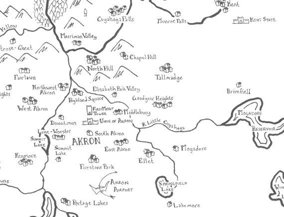 Fantasy map of ClevelandAkron