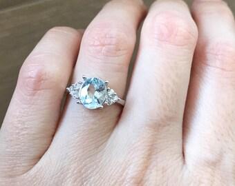 Aquamarine Ring in Sterling Silver Oval Blue Gemstone Solitaire March Birthstone Gemstone