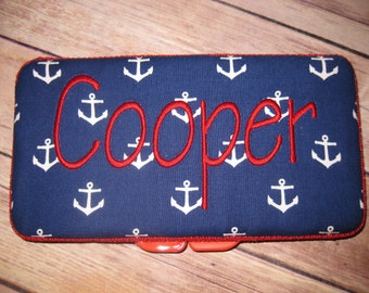 Travel Baby Wipe Case - Navy Anchors - Personalization Available