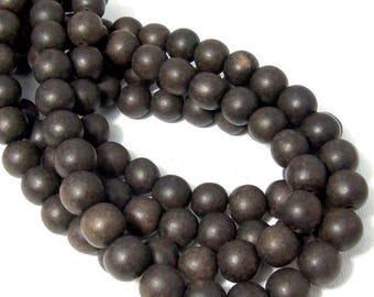 Unfinished Ebony Wood Bead, 10mm, Dark Brown to Near Black, Round, Small, Natural Wood Bead, 16 Inch Strand - ID 2357-DK