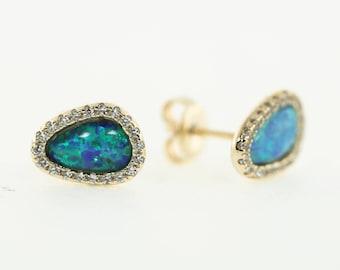 Pavé Oval Opal Post, Vermeil, Opal, Mother of Pearl, Sparkly Post Earrings, Wedding Earrings, Bridemaids Earrings