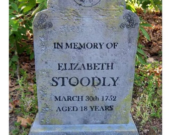 Elizabeth Stoodly Halloween Tombstone Decoration Prop Cemetery Graveyard for Haunted House