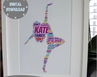 Personalised Printable Dancer Print, Print your own Dancer Print, Print your own Word Art Print *DIGITAL DOWNLOAD ONLY*