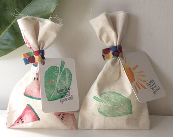 VERY HUNGRY CATERPILLAR Watermelon & Leaf theme Calico favour bags. very hungry caterpillar party, watermelon , leaf, caterpillar party x 10
