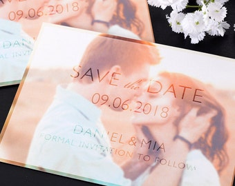 """Frosted Glass - Save The Date Cards - 5"""" x 7"""" Wedding Announcement Cards - Save The Dates - Personalized Save the Dates - Photo Cards"""