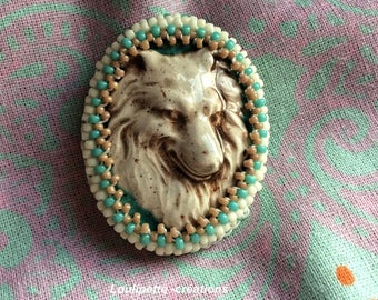 brooch embroidery, ceramic dog